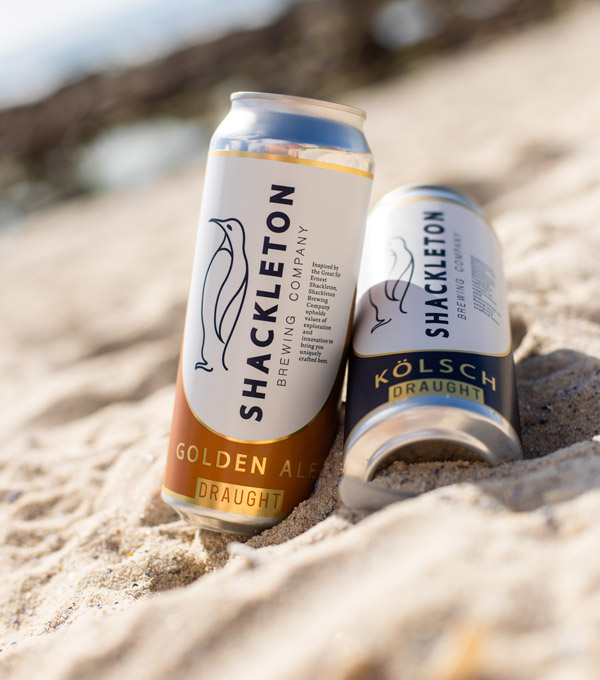 Shackleton Craft beer cans on the beach