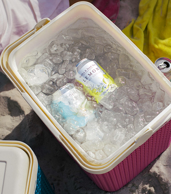 Shackleton vodka iced tea can in ice cooler