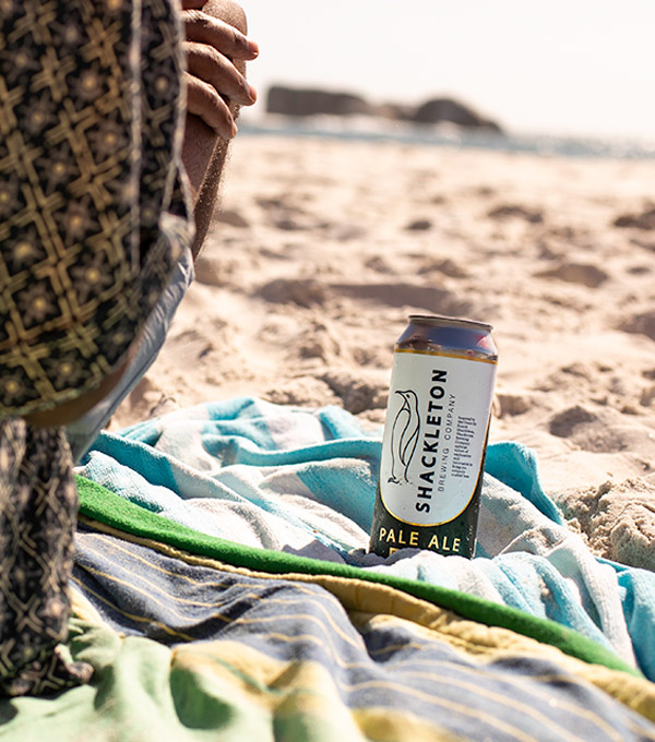 Shackleton Pale Ale beer can on the sand