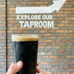 Shackleton Stout in front of Taproom